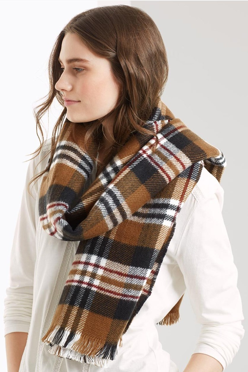 Double Sided Scarf, Beige/Black