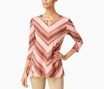 JM Collection Striped Keyhole Top, Pink/Brown