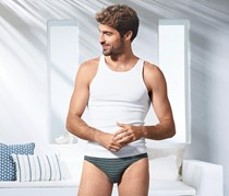 Men's Slip Brief Set of 3, Grey/Blue/Grey-Petrol Stripe