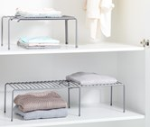 Shelf Stackable Set of 2 Silver Colored