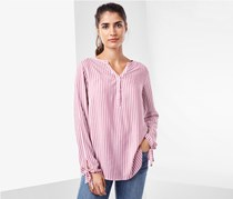 Women's Long Sleeve Blouse, Pink/White