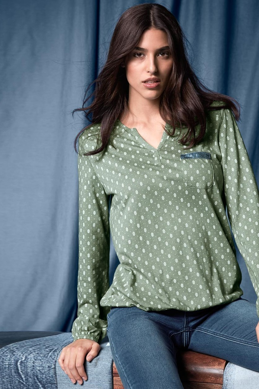 Women's Blouse Shirt, Sage/White