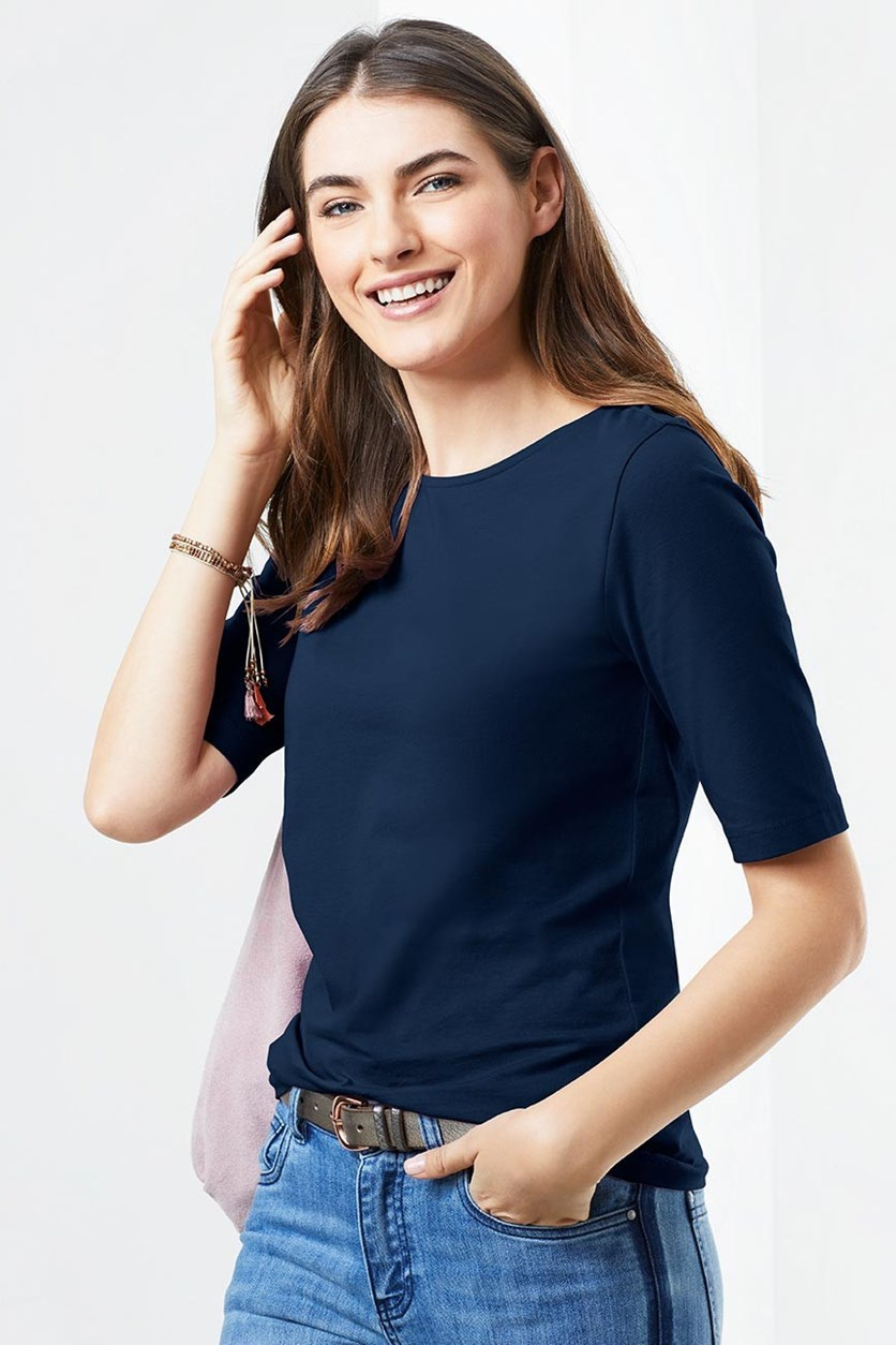 Women's Boat Neck Shirt, Blue