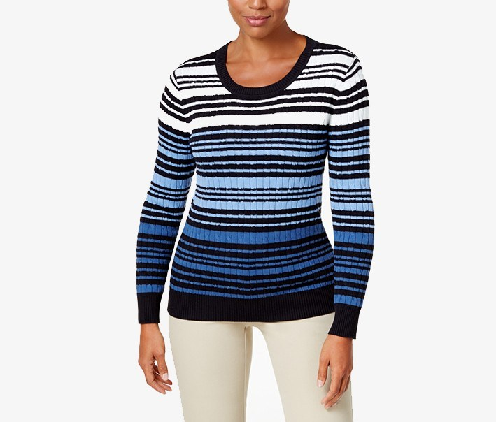 Karen Scott Womens Striped Cable Knit Sweater Blue Combo Brands