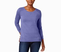 Karen Scott Women's Side-Slit Sweater, Purple Bliss