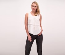 Beltaine Swiss Dot Lace Trim Top, Ivory