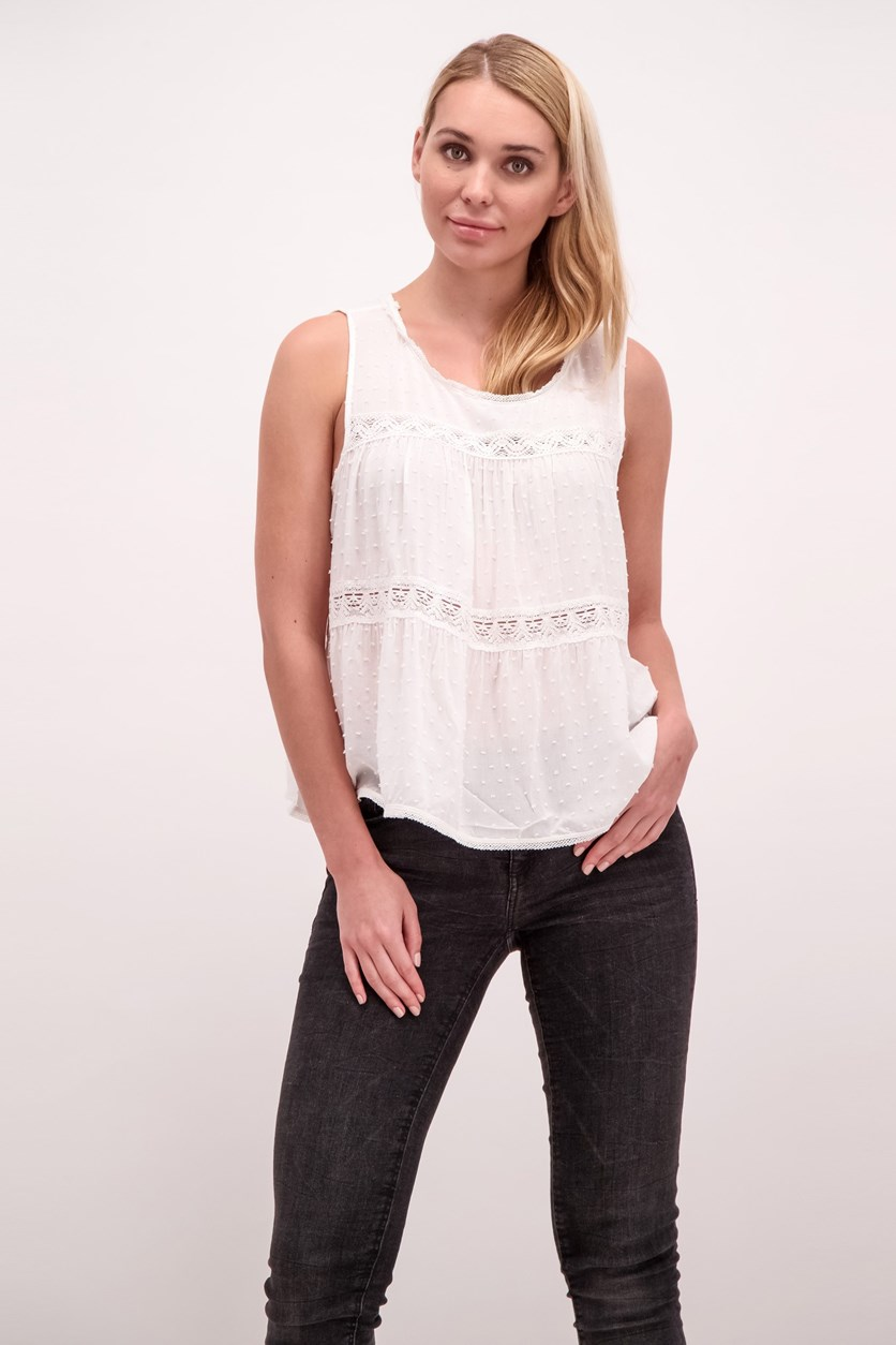 Swiss Dot Lace Trim Top, Ivory