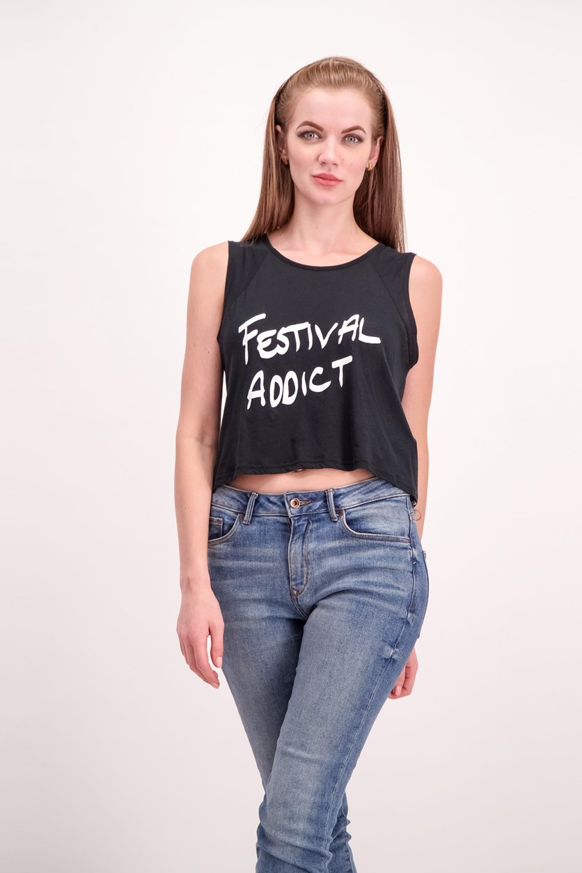 Womens Festival Addict Print Top, Black