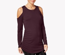 Hippie Rose Juniors' Ruched Cold-Shoulder Sweater, Burgundy