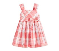 Bonnie Baby Metallic Plaid Seersucker Dress, Coral