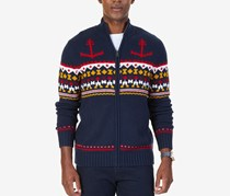 Nautica Men's Anchor Fair Isle Zip-Front Sweater, Navy