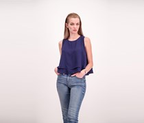 Bishop + Young Plain Sleeveless Top, Navy