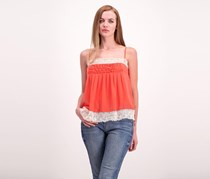 Willow & Clay Womens Lace Tank Top, Tangerine