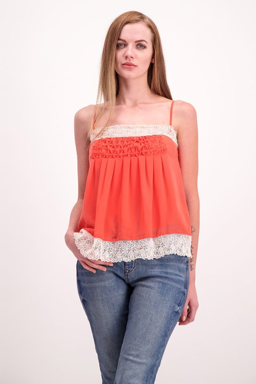 Womens Lace Tank Top, Tangerine