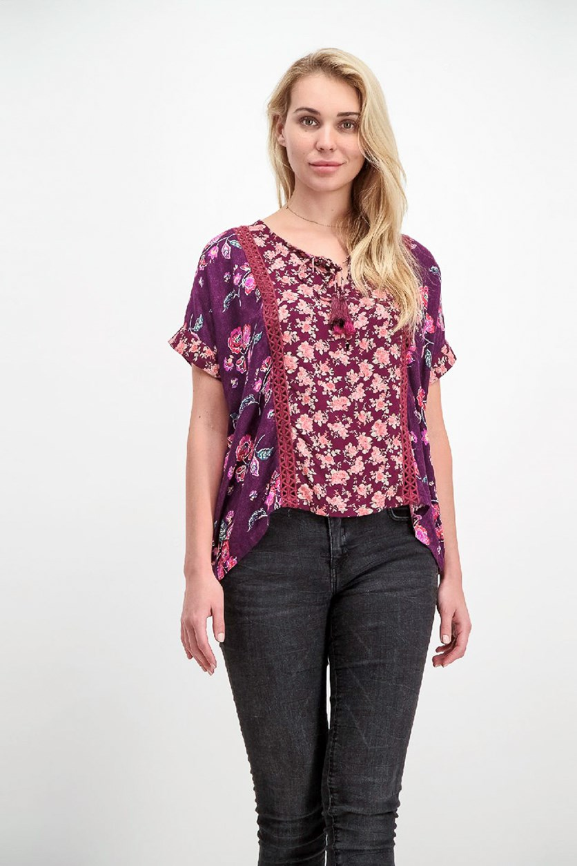 KAS NY Women's Printed Blouse, Purple