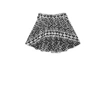 Geometric-Print Skater Skirt, Bright White/Black