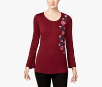 NY Collection Bell-Sleeve Embroidered Top, Maroon