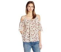 French Connection Polly Plains Cold Shoulder Blouse, Cream