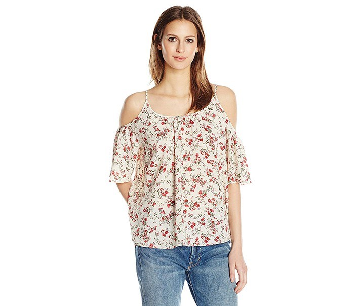 Polly Plains Cold Shoulder Blouse, Cream