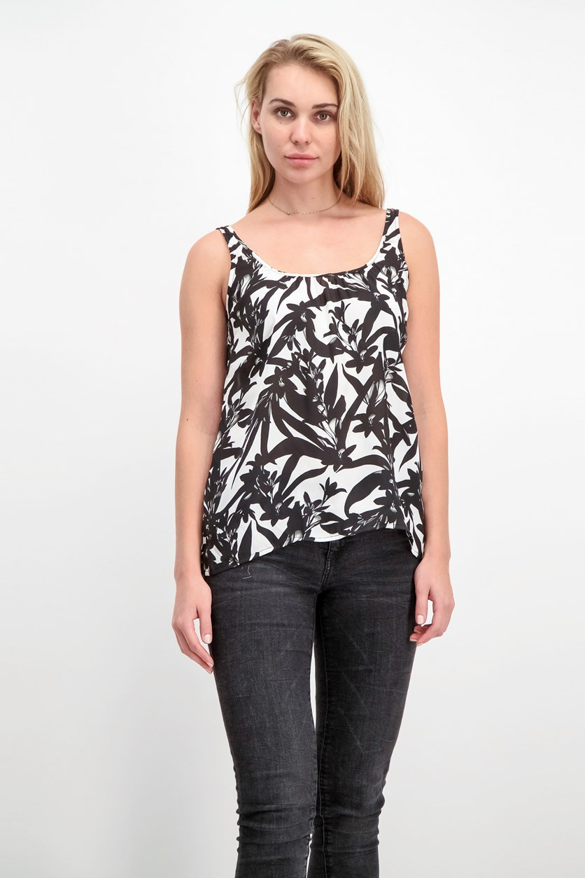 Women's Printed Sleeveless Top, Black/White
