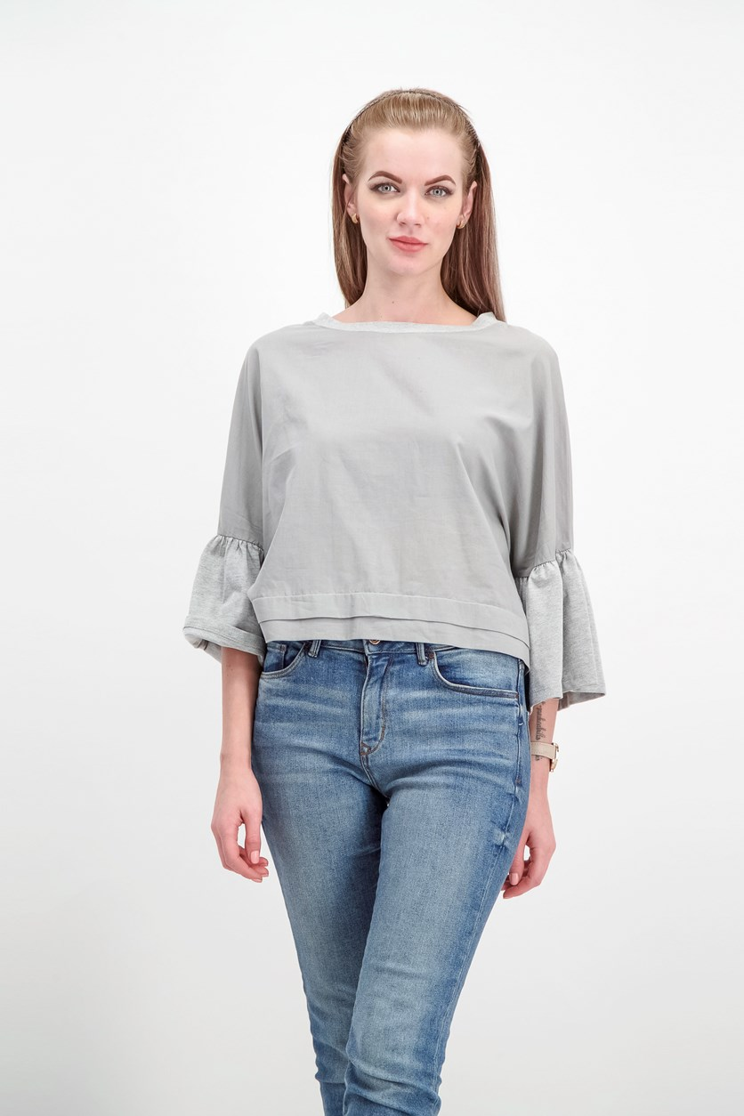 Women's Bell Sleeves Top, Light Heather Grey