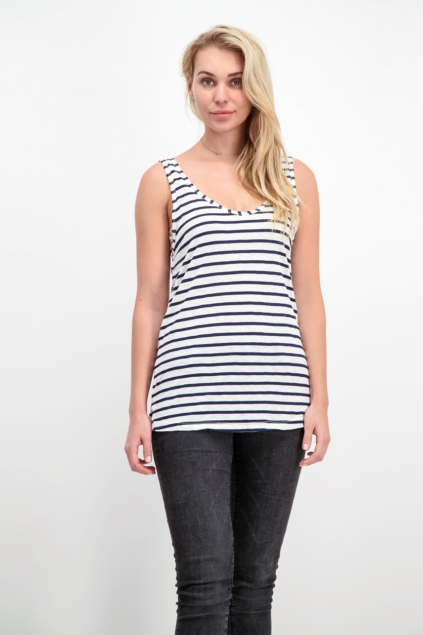 Women's Sleeveless Striped Top, White/Navy