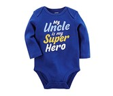 Carter's My Uncle Is My Super Hero Cotton Bodysuit, Blue