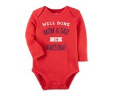 Carter's I'm Awesome Cotton Bodysuit, Red
