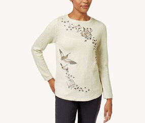 Style & Co Petite Cotton Embroidered Sweater, White Heather
