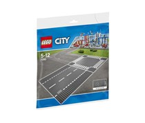 Lego Base Plates Crossing And Straight Road, Grey