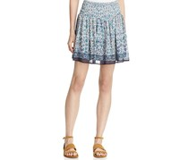 Beltaine Womens Sophie Chiffon Smocked A-Line Skirt, Navy Combo