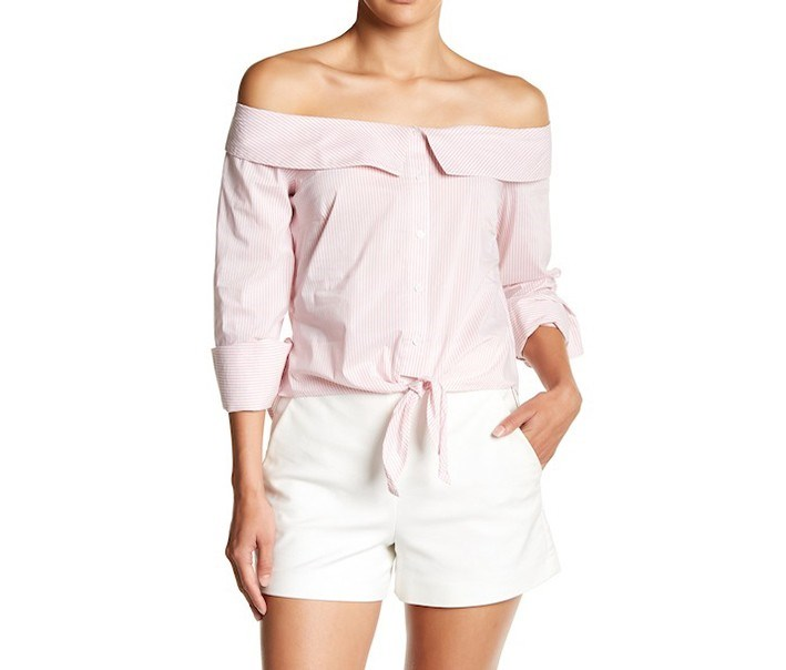 Off-the-Shoulder Tie Hem Blouse, Dusty Pink
