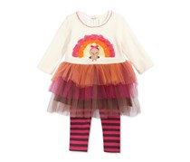 Bonnie Baby 2-Pc. Turkey Tulle Tunic & Striped Leggings Set, Ivory/Pink