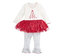 Bonnie Baby 2-Pc. Holiday Tutu Tunic & Leggings Set, Ivory/Grey