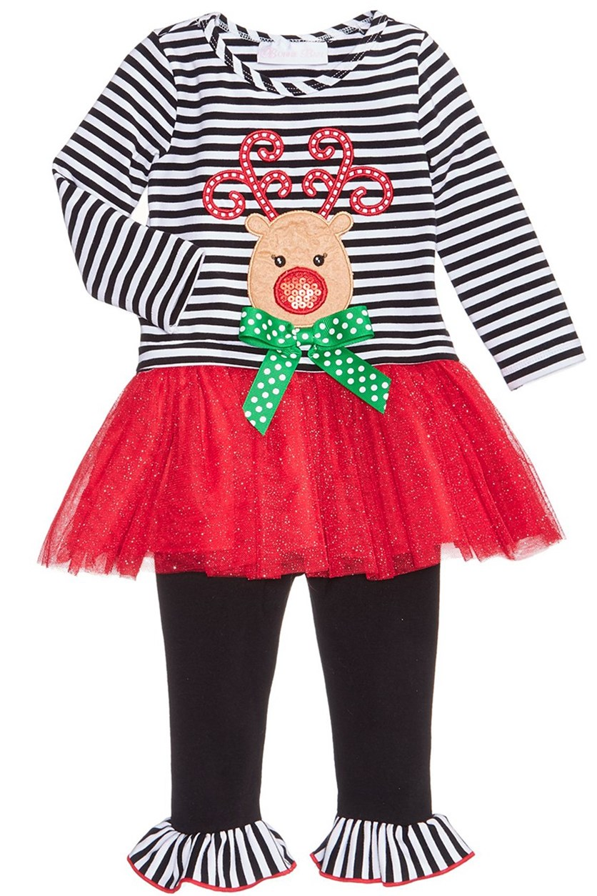 2-Pc. Reindeer Tutu Dress & Leggings Set, Black/White