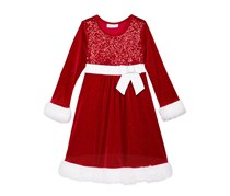 Bonnie Jean Sequin Santa Dress, Red