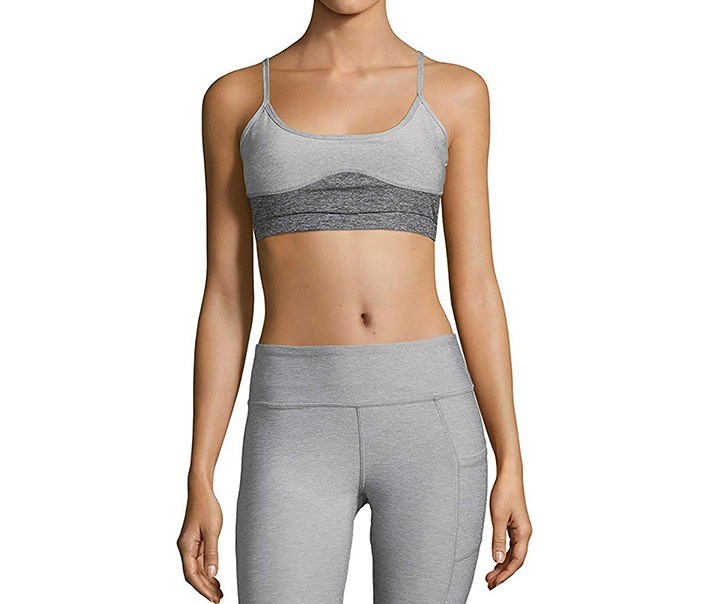 Womens Strap Sports Bra, Light Grey