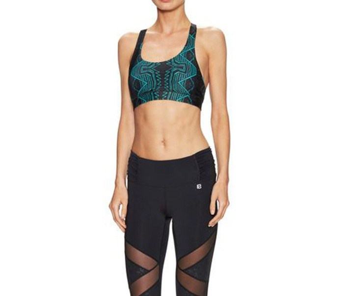 Trek Sports Bra, Black/Green