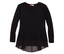 Aqua Girls' Chiffon Trimmed Knit Top, Black