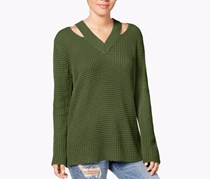 Hooked Up by Iot Juniors' Cutout Collar Sweater,  True Olive