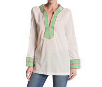 Macbeth Collection Embroidered Long Sleeve Tunic, White