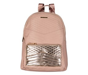 Rampage Women's Metallic Pocket Backpack, Rose Gold