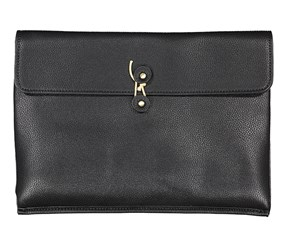 Men's Tahari Pebbled Vegan Leather Clutch, Black