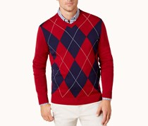 Club Room Men's Argyle Pima Cotton Sweater, Maraschino