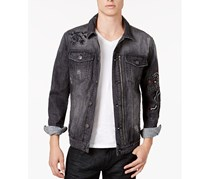 Inc International Concepts Men's Embroidered Panther Destroyed Denim Jacket, Black Wash