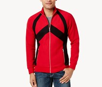 Inc International Concepts Men's Pieced Zip-Front Jacket, Red/Black