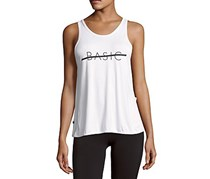 Body Language Graphic Slit Tank Top, White