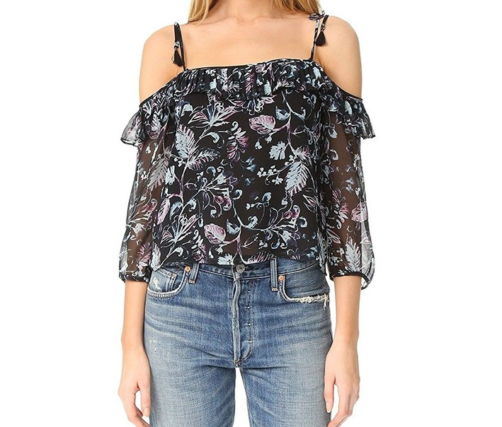 Women's Floral Sheer Blouse, Black Combo