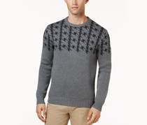 Ben Sherman Men's Dogtooth Jacquard Sweater, Gray