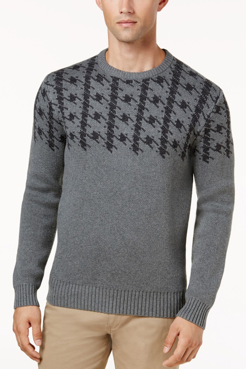 Men's Dogtooth Jacquard Sweater, Gray